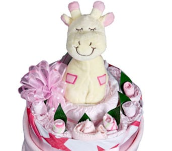 Baby Girl Nappy Cake in Grumleys NSW, Grumleys Gifts