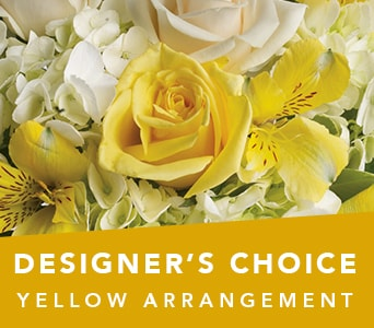 Designer's Choice Yellow Arrangement in Cessnock , Bluebird Florist Cessnock