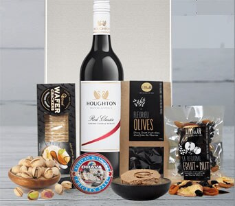 Red Wine and Savoury Gift Hamper - fast gift delivery australia wide