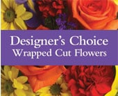Designer's Choice Wrapped Cut Flowers in orange , classic country rose