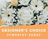 Designer's Choice Sympathy Sheaf in semaphore , roses of elizabeth