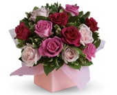 Blushing Roses in blaxland east , red lily floral design