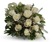 Dreamy White Dozen in blaxland east , red lily floral design