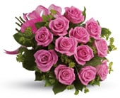 Blushing Dozen in brisbane cbd , florists flower shop brisbane