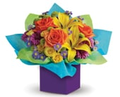 Rainbow Surprise in orange , jenisa florist & gifts