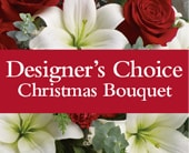 Designer's Choice Christmas Bouquet in grange , the blu tulip