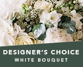 Designer�s Choice White Bouquet in semaphore , roses of elizabeth