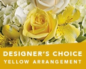 Designer�s Choice Yellow Arrangement in blaxland east , red lily floral design