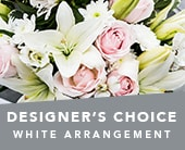 Designer�s Choice White Arrangement in corrimal , pink domino florist