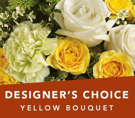 Designer's Choice Yellow Bouquet in Corrimal , Pink Domino Florist