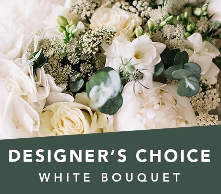 Designer's Choice White Bouquet in Balwyn North , Bloomsville Flowers And Gifts