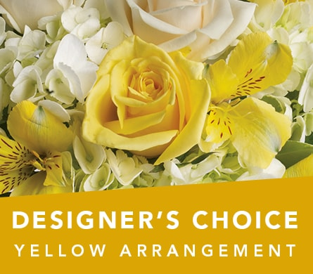 Designer's Choice Yellow Arrangement in Semaphore , Roses of Elizabeth