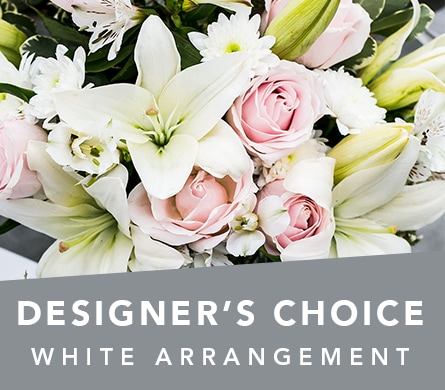 Designer's Choice White Arrangement in Cessnock , Bluebird Florist Cessnock